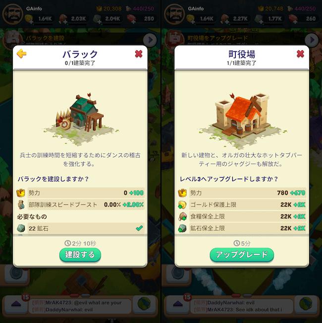 Kingdoms 建設のステータス